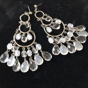 Jewelry - Clear & Frosted White Chandelier Earrings